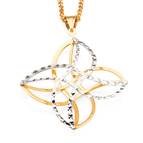 9ct Yellow & White Gold 2-Tone Pendant