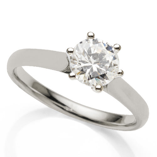 1ct Diamond Solitaire Ring in 18ct White Gold