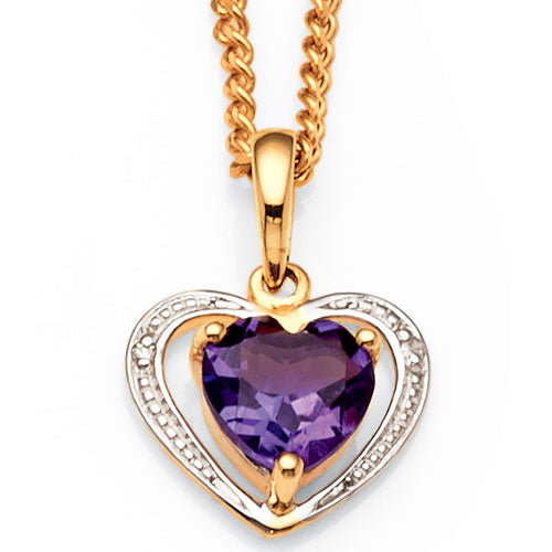 9ct Yellow Gold Amethyst & Diamond Heart Pendant