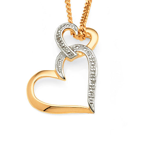 9ct Yellow Gold Diamond Set Double Heart Pendant