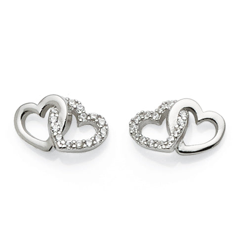 Sterling Silver Cubic Zirconia Double Heart Studs