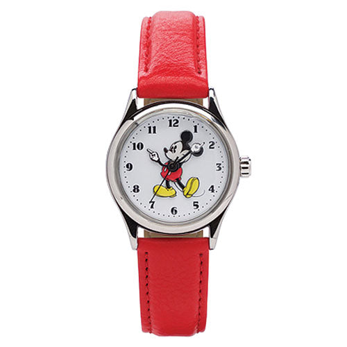 Mickey Mouse Red Leather Watch TA56950