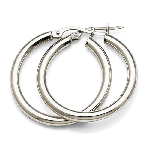 9ct White Gold 20mm Hoops