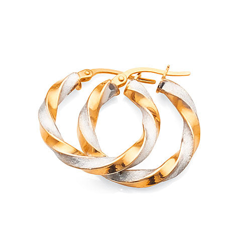 9ct Yellow & White Gold 2-Tone 15mm Hoops