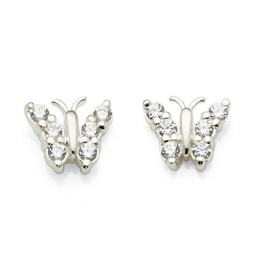 Sterling Silver Cubic Zirconia 8mm Butterfly Studs