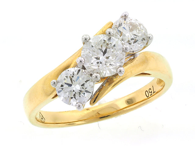 1.2ct Trilogy Diamond Ring in 18ct Yellow Gold