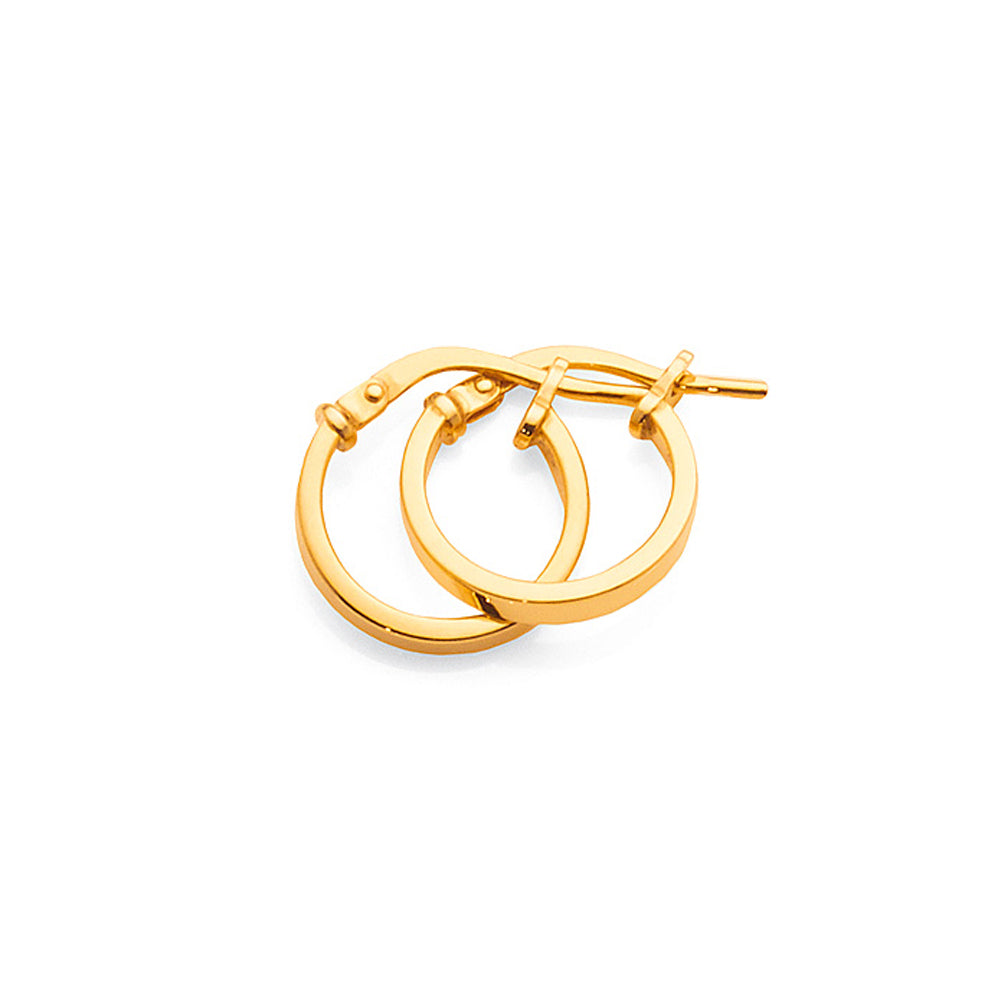 9ct Yellow Gold Bonded 10mm Hoops