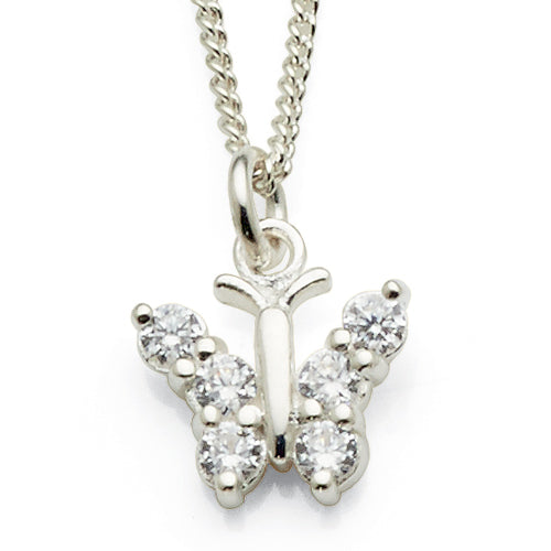 Sterling Silver Cubic Zirconia Butterfly Pendant