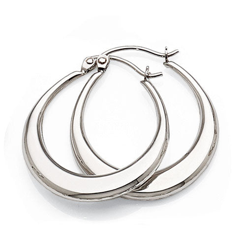 9ct White Gold 16mm Hoops
