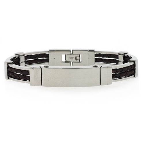 Stainless Steel & Black Leather ID Bangle