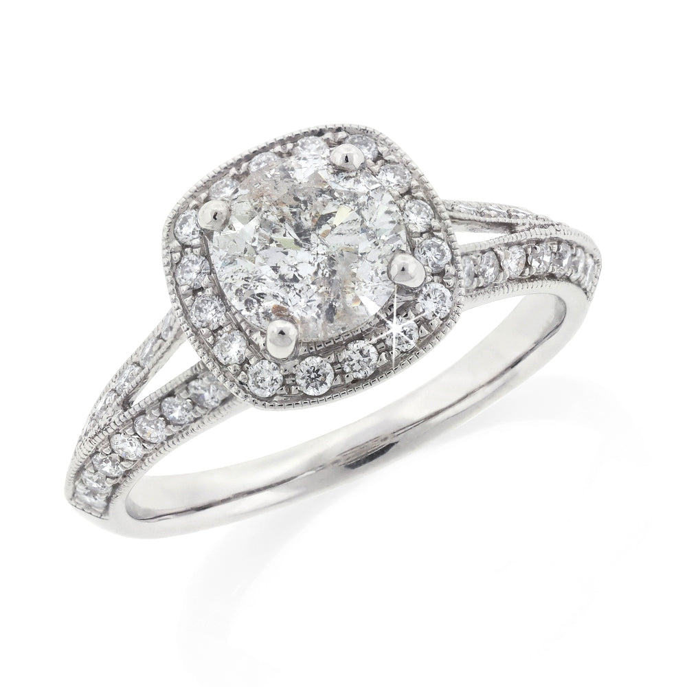 18ct White Gold Diamond Halo Ring TDW 1.78CT