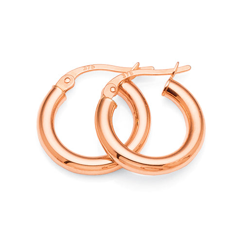 9ct Rose Gold 10mm Hoops