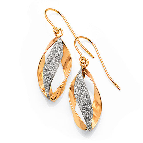 3-Tone Gold Bonded Hook Earrings