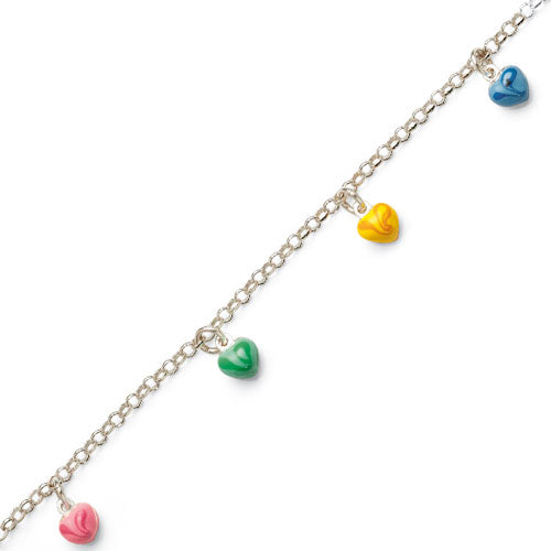 Sterling Silver Multi-Coloured 16cm Kids Bracelet