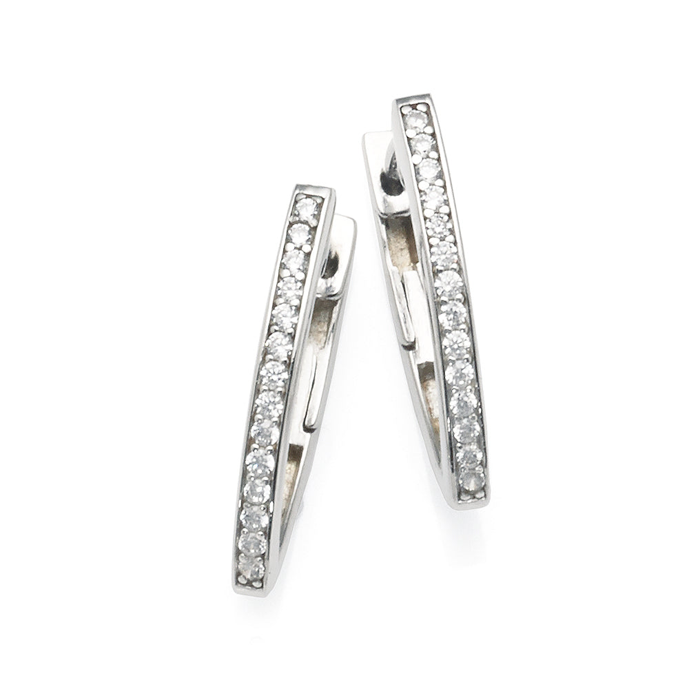 Sterling Silver Cubic Zirconia 20mm V-Shaped Hoops