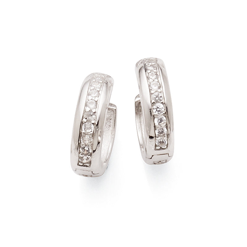 Sterling Silver Cubic Zirconia 12mm Hoops