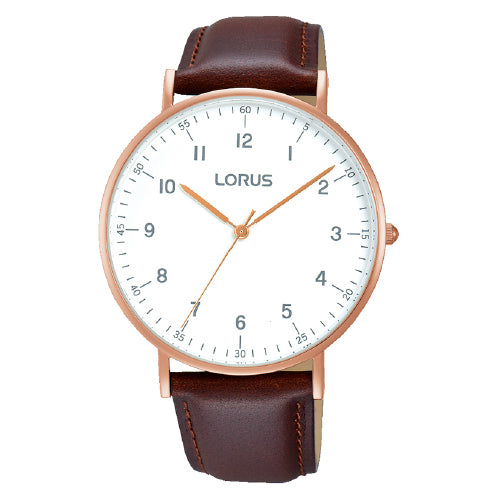 Lorus Brown Leather Strap Watch RH894BX-9