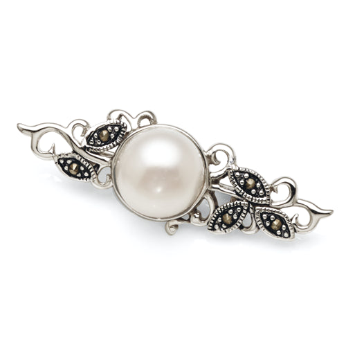 Sterling Silver Marcasite Pearl Brooch