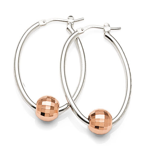 Sterling Silver 2-Tone 30mm Oval Hoops