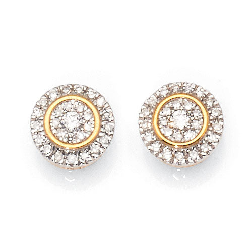 9ct Yellow Gold Halo Diamond Studs TW 0.15ct
