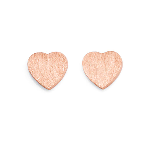 Sterling Silver Rose Tone Heart Studs