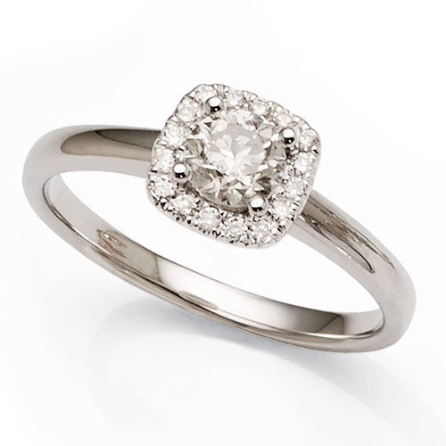 Halo Diamond Engagement Ring in 9ct White Gold