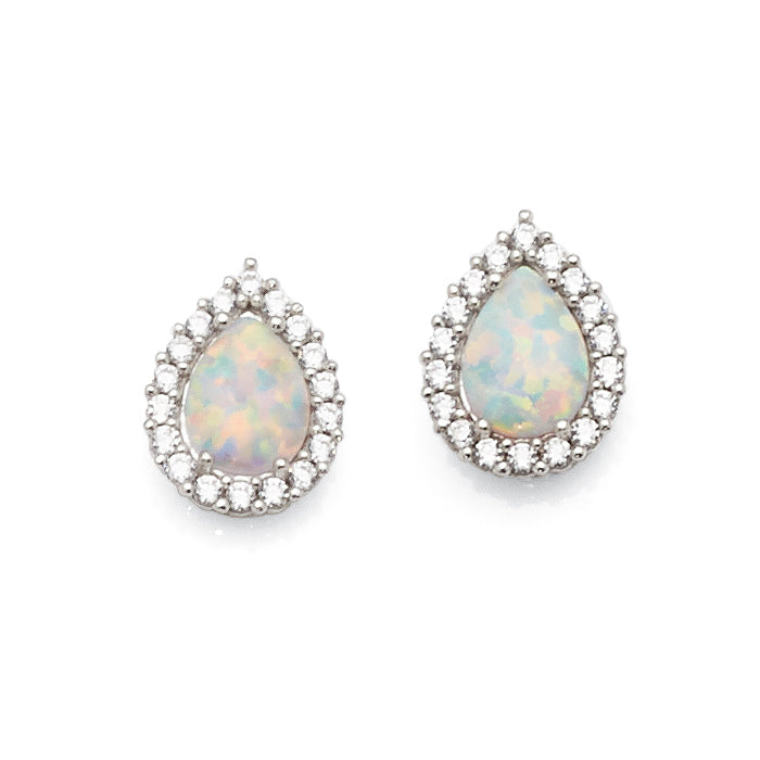 9ct White Gold Created Opal & Cubic Zirconia Studs