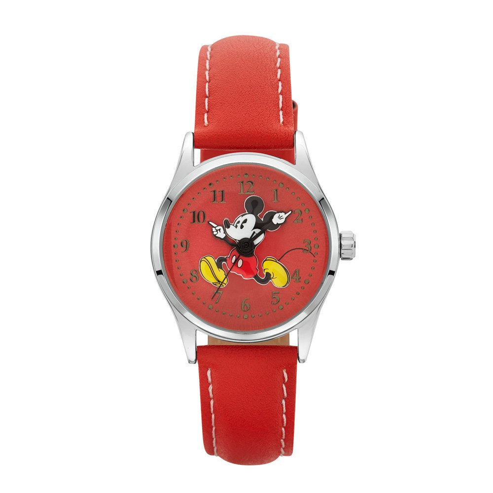Mickey Mouse Red Leather Watch TA56914