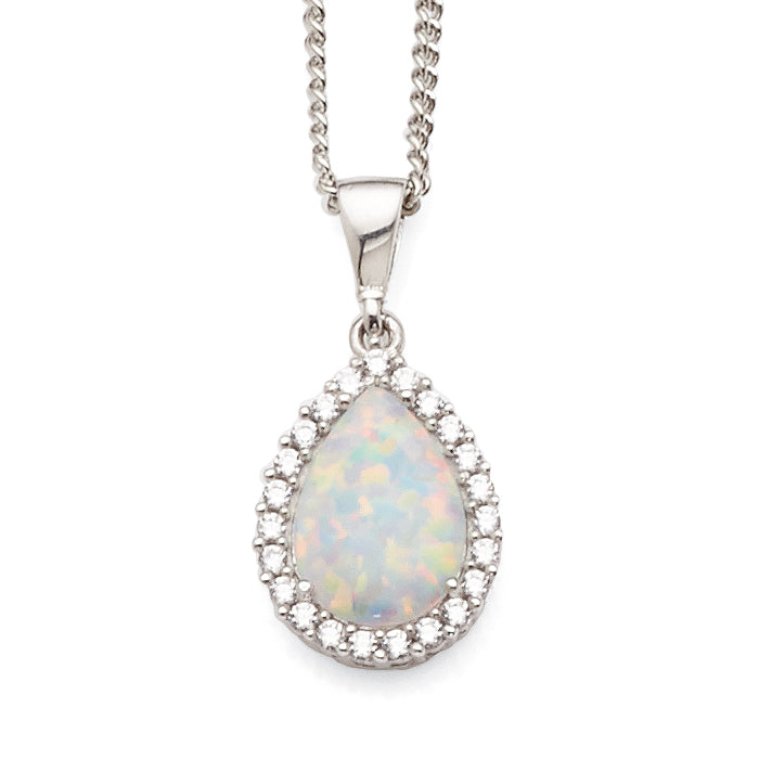 9ct White Gold Created White Opal & Cubic Zirconia Pear Shap