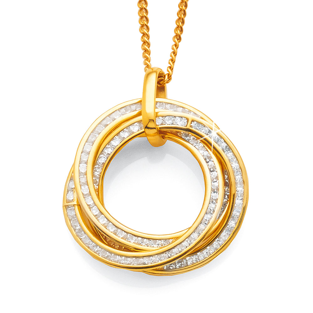 Yellow Gold Bonded Cubic Zirconia Circle Pendant