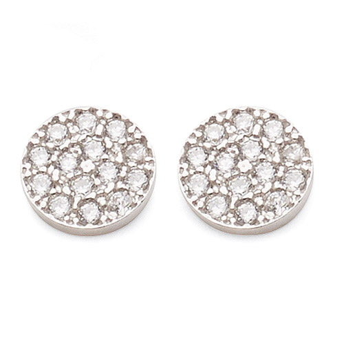 White Gold Bonded Cubic Zirconia Studs