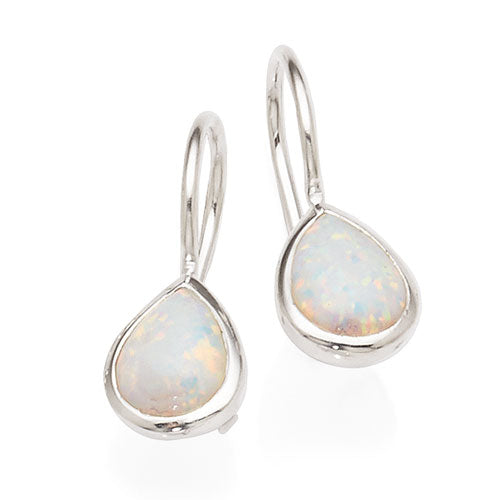 Sterling Silver Created Opal Hooks