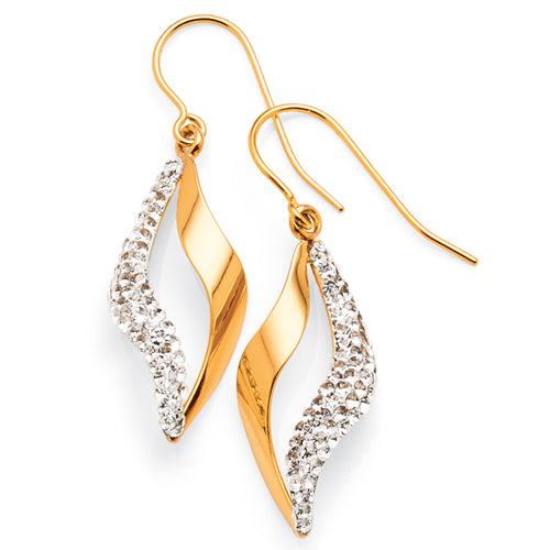 Yellow Gold Bonded Crystal Hooks