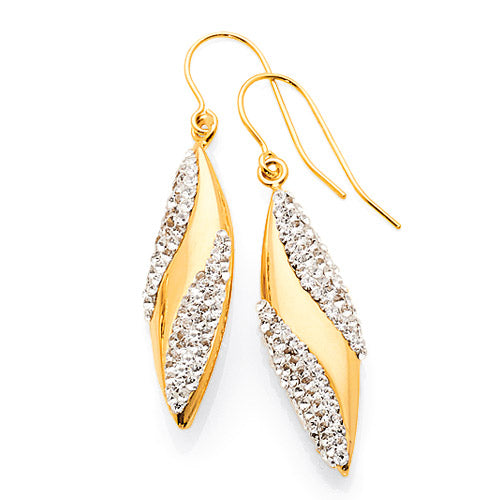 Yellow Gold Bonded Crystal 28mm Hook Earrings