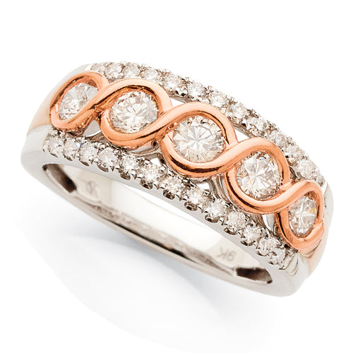 9ct White & Rose Gold Diamond Ring