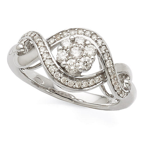9ct White Gold Diamond Multi-Stone Dress Ring