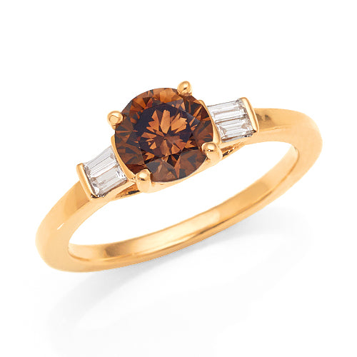 18ct Gold Cognac & White Diamond Engagement Ring