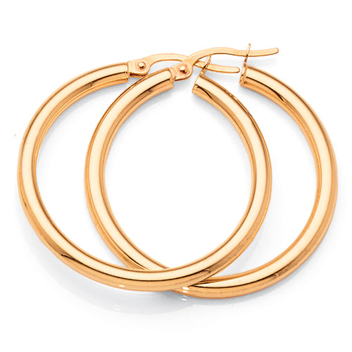 9ct Yellow Gold 25mm Hoops