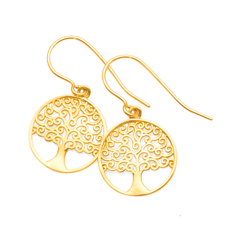 9ct Yellow Gold Tree Of Life Hooks