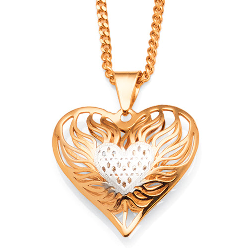 9ct Yellow & White Gold 2-Tone Puff Heart Pendant