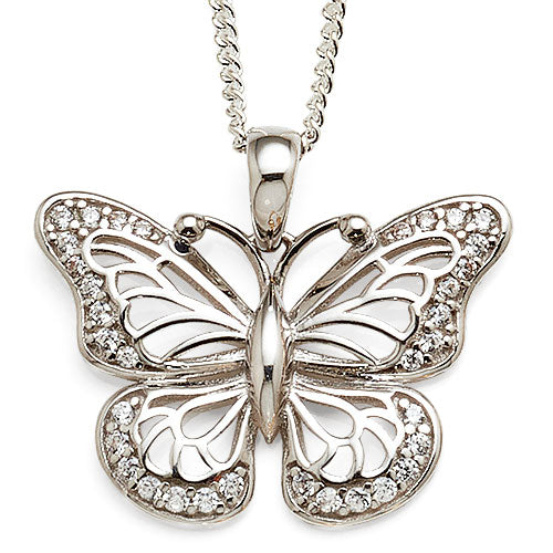 9ct White Gold Cubic Zirconia Butterfly Pendant