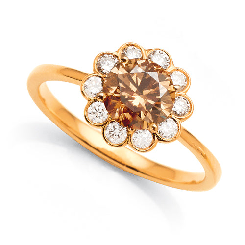 18ct Gold Cognac Diamond Flower Engagement Ring