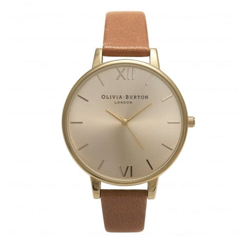 Olivia Burton Sunray Gold & Tan Strap Watch OB13