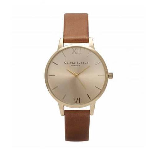 Olivia Burton Midi Dial Tan And Gold OB14MD22