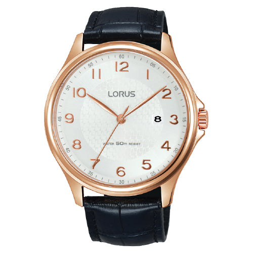 Lorus Black Leather Strap Watch RS982CX-9