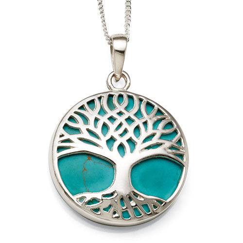 Sterling Silver Created Turquoise Pendant