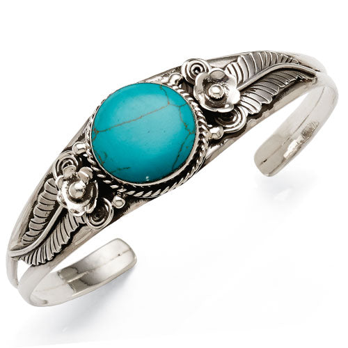 Sterling Silver Created Turquoise Bangle