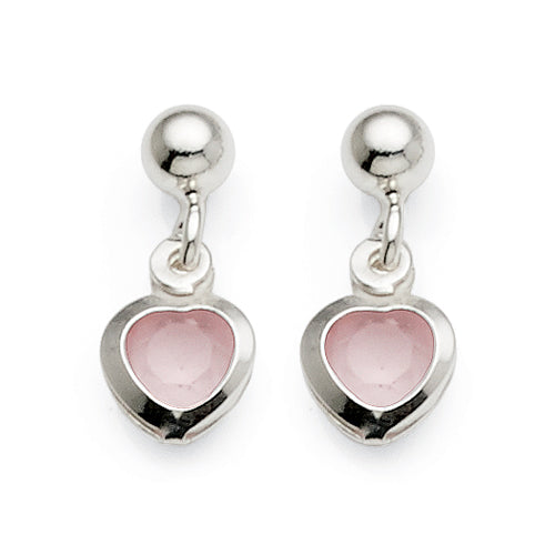 Sterling Silver Cubic Zirconia Heart Drop Studs