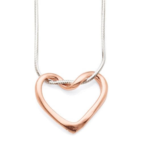 Sterling Silver & Rose Tone Open Heart Necklet