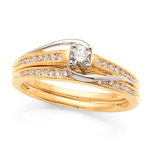 9ct Yellow Gold Diamond Bridal Set